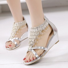 Women's Leatherette Wedge Heel Sandals Platform Wedges Peep Toe With Rhinestone shoes