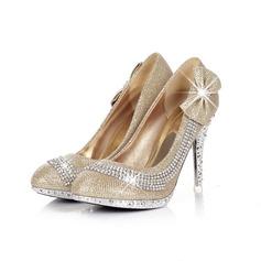 Couro Espumante Glitter Salto agulha Bombas com Strass Espumante Glitter sapatos