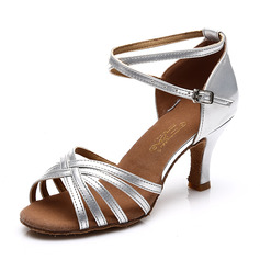Women's Satin Leatherette Heels Sandals Latin With Ankle Strap Hollow-out Dance Shoes