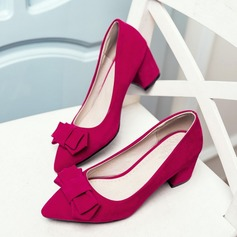 Women's Suede Chunky Heel Pumps Closed Toe With Bowknot shoes