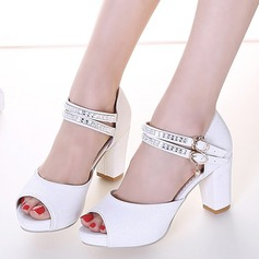 Women's Leatherette Chunky Heel Peep Toe Sandals With Buckle Rhinestone