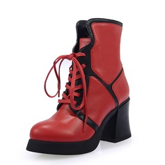 Women's Real Leather Chunky Heel Ankle Boots shoes