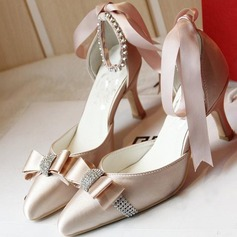 Women's Satin Stiletto Heel Closed Toe Beach Wedding Shoes With Bowknot Rhinestone