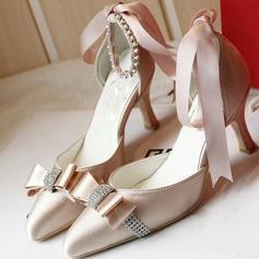 Femmes Satiné Talon stiletto Bout fermé Beach Wedding Shoes avec Bowknot Strass