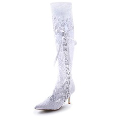 Women's Satin Stiletto Heel Boots Closed Toe With Ribbon Tie Stitching Lace