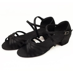 Women's Kids' Satin Sandals Flats Latin Dance Shoes