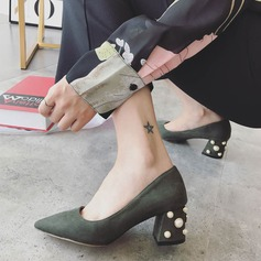 Women's Suede Chunky Heel Pumps Closed Toe With Pearl shoes