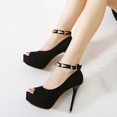 Women's Leatherette Stiletto Heel Pumps Platform Peep Toe With Rivet Buckle shoes