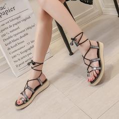 Femmes Similicuir Talon plat Sandales Chaussures plates Escarpins avec Dentelle chaussures