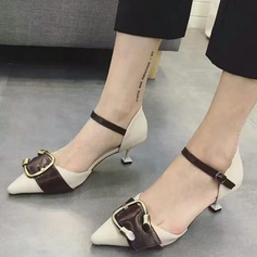 Women's Leatherette Kitten Heel Pumps Closed Toe With Buckle shoes