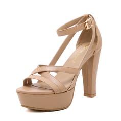 Women's Leatherette Chunky Heel Sandals Peep Toe Slingbacks With Buckle shoes