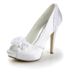 Satén Jehlový podpatek Volná špička Na platformě Sandály Svatební obuv S Saténová květina