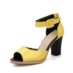 Patent Leather Chunky Heel Sandals Peep Toe With Buckle shoes