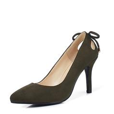 Femmes Suède Talon stiletto Escarpins avec Bowknot Ouvertes chaussures