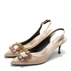 Women's Satin Kitten Heel Pumps Slingbacks With Rhinestone