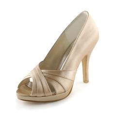 Satén S kónickým podpatkem Volná špička Na platformě Sandály Svatební obuv