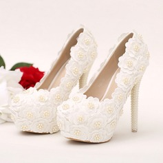 Women's Leatherette Stiletto Heel Closed Toe Platform Pumps With Imitation Pearl Flower Jewelry Heel