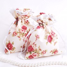 Pretty Floral Theme Favor Bags With Ribbons (Set of 12)