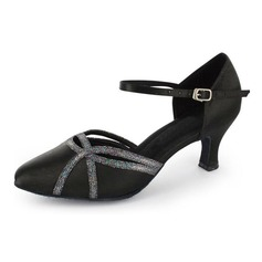 Women's Satin Sparkling Glitter Heels Modern With Ankle Strap Dance Shoes