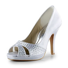Women's Satin Cone Heel Peep Toe Platform Sandals With Rhinestone