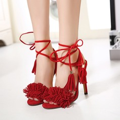 Women's Suede Stiletto Heel Sandals Pumps Peep Toe With Lace-up Tassel shoes