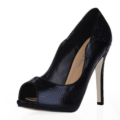 Leatherette Stiletto Heel Sandals Peep Toe shoes