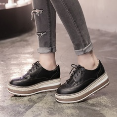 Women's Microfiber Leather Wedge Heel Closed Toe Wedges With Lace-up shoes