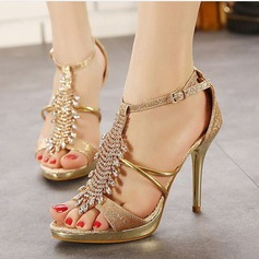 Women's Sparkling Glitter Stiletto Heel Pumps Sandals Slingbacks With Rhinestone Sparkling Glitter Crystal