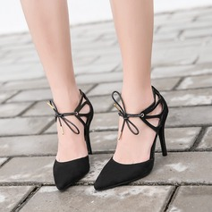 Women's Suede Stiletto Heel Pumps Closed Toe With Lace-up shoes