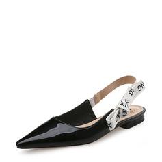 Femmes Cuir verni Talon plat Chaussures plates Bout fermé Escarpins avec Bowknot chaussures