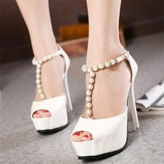 Women's Leatherette Stiletto Heel Peep Toe Platform Pumps Sandals With Imitation Pearl