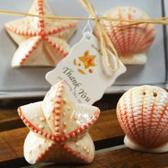 Coquille et étoile Céramique Salière et poivrier avec Étiquette (Jeu de 2 pièces)