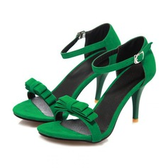 Women's Suede Stiletto Heel Sandals Pumps Peep Toe With Bowknot Buckle shoes