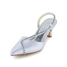 Women's Satin Cone Heel Closed Toe Sandals Slingbacks With Rhinestone
