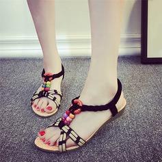 Women's Leatherette Wedge Heel Sandals Peep Toe Slingbacks With Beading Others Elastic Band shoes