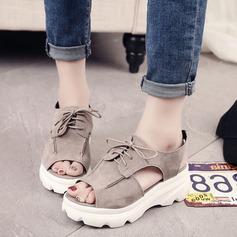 Frauen Veloursleder Keil Absatz Sandalen Absatzschuhe Plateauschuh Keile mit Zuschnüren Schuhe