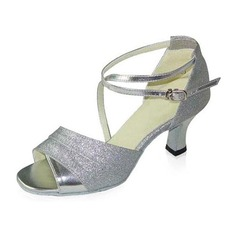 Women's Sparkling Glitter Patent Leather Heels Sandals Latin With Ankle Strap Dance Shoes