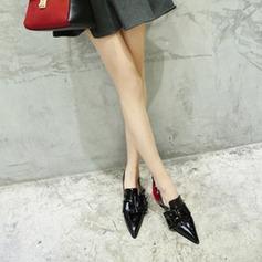 Vrouwen Patent Leather Chunky Heel Pumps Closed Toe Slingbacks met Gesp schoenen