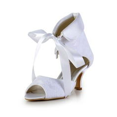 Women's Lace Satin Spool Heel Boots Peep Toe Sandals With Lace-up