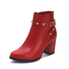Women's Leatherette Chunky Heel Ankle Boots With Rivet shoes
