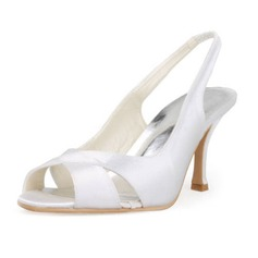 Vrouwen Satijn Stiletto Heel Peep Toe Sandalen Slingbacks