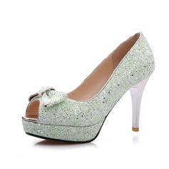 Glitter scintillanti Tacco a spillo Sandalo Piattaforma Punta aperta con Archetto scarpe