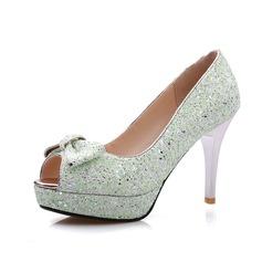 Sparkling Glitter Stiletto Heel Sandals Platform Peep Toe With Bowknot shoes