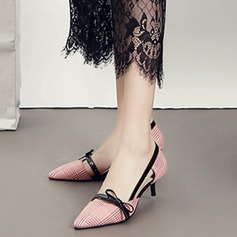 Women's Cloth Kitten Heel Pumps Closed Toe With Bowknot Hollow-out shoes