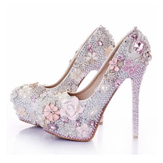 Women's Real Leather Stiletto Heel Platform Pumps With Crystal