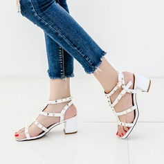 Femmes Cuir en microfibre Talon bottier Sandales À bout ouvert avec Rivet chaussures