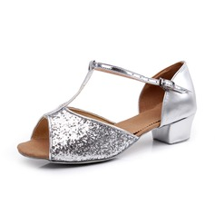Women's Sparkling Glitter Sandals Ballroom With T-Strap Dance Shoes