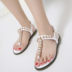 Women's Leatherette Flat Heel Flats Sandals Beach Wedding Shoes With Imitation Pearl Rhinestone