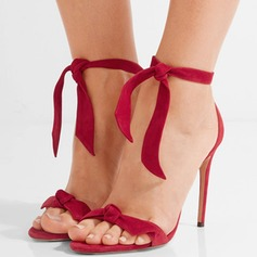 Femmes Suède Talon stiletto Sandales Escarpins À bout ouvert avec Bowknot chaussures