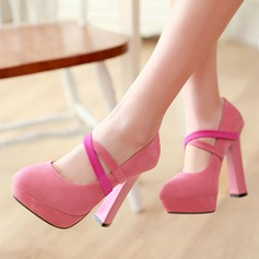 Women's Suede Chunky Heel Pumps Platform Peep Toe With Others shoes